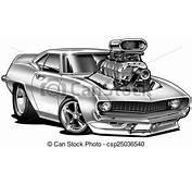 Cartoon Muscle Car Line Drawing  Stock Illustration 69