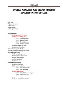 Design Analysis Essay by System Analysis And Design Project Documentation Outline
