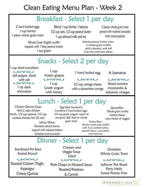 printable meal plan for weight loss clean eating meal plan week 2 clean eating menu weekly
