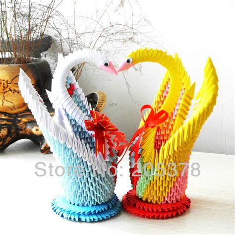 Unique Handmade Birthday Gifts - 3d origami swan handmade paper beutiful gifts for gids diy