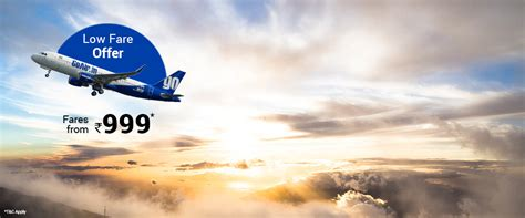 goair sale lowest airfares from 999 via