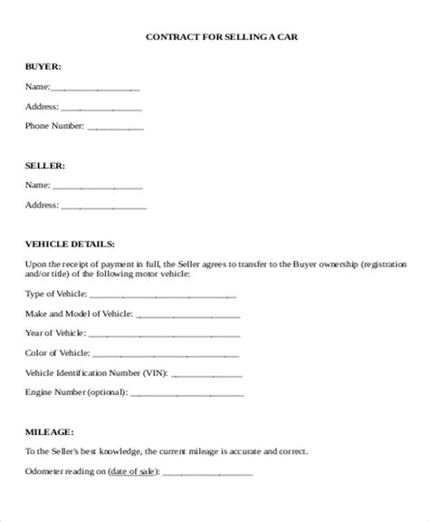 Sle Used Car Sale Contract 5 Exles In Word Pdf Used Car Agreement Template