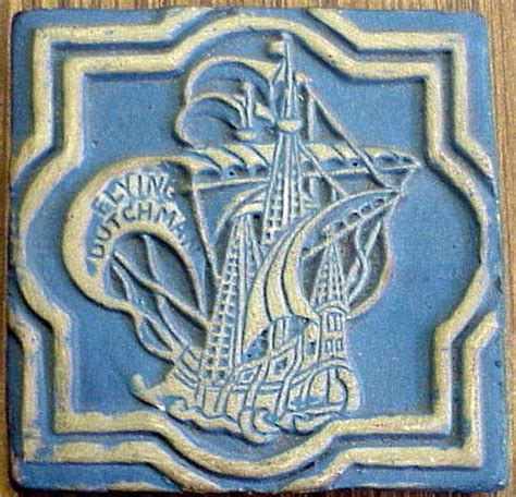 moravian pottery flying dutchman tile for sale antiques