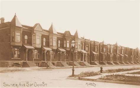 row houses postcard chicago sawyer ave s of ohio newly built