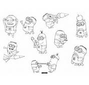Gru Daughters And Minions From Despicable Me Coloring Page For Kids