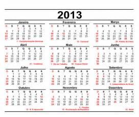 Calendario S Calend 225 2013 Datas Comemorativas E Fases Da Lua