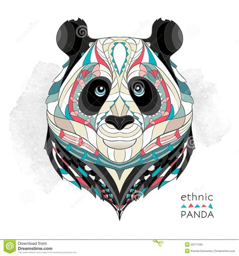 patterned head of the panda stock vector image 53717345
