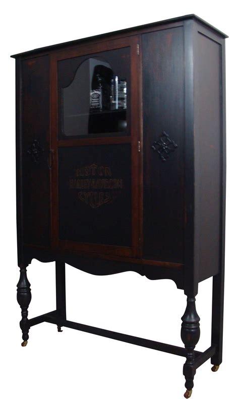 Antique Bar Cabinet Furniture Antique Ebonized Wood Lock Liquor Cabinet Chairish