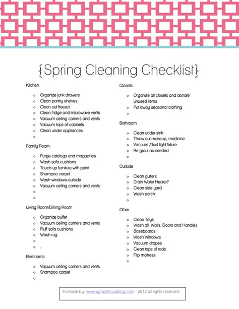 spring cleaning how to clean your house from top to spring cleaning checklist printables pinterest