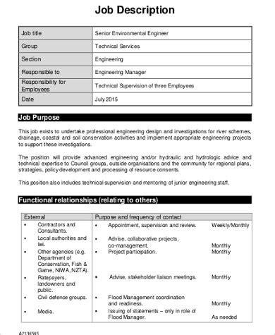 Senior Engineer Description by Environmental Engineer Description Sle 6 Exles In Word Pdf