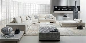 contemporary domino living room with white leather sofa