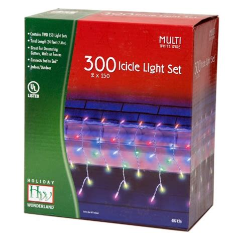 300 count christmas lights holiday wonderland 407426 multi color 300 count icicle set