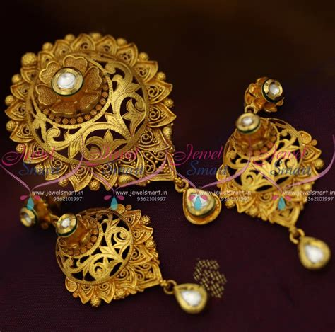 Handmade Gold Jewellery Designs - ps10278 handmade gold plated beautiful real look intricate