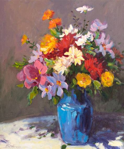 Paintings Of Flowers In Vases by Saatchi Blue Vase Of Flowers Painting By Helmut Pete Beckmann