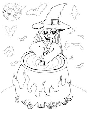 witch cauldron coloring page witch stirring cauldron coloring page