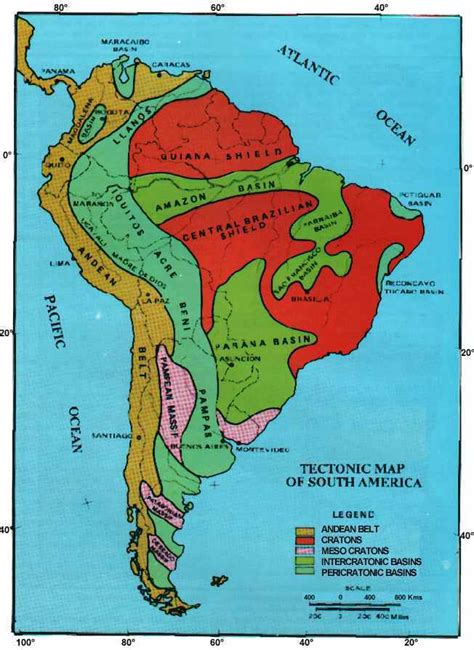 south america map basin south america s geology