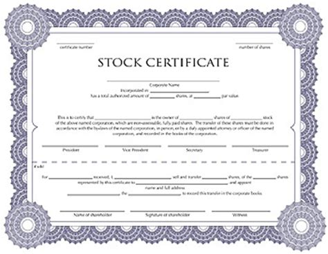free corporation stock certificate template for you to