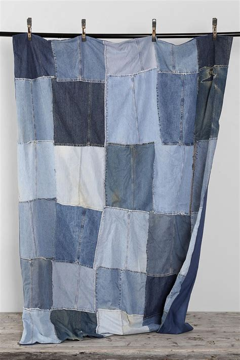 Denim Patchwork - vintage patchwork denim blanket