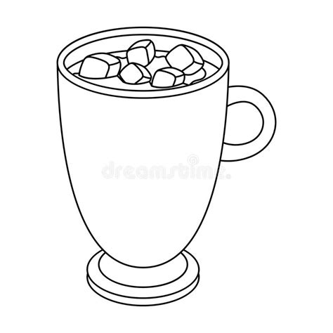 A Cup Of Hot Chocolate Different Types Of Coffee Single Icon In Outline Style Vector Symbol Chocolate Cup Template
