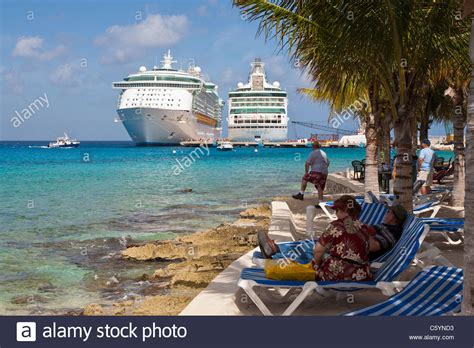 cozumel mexico cruise port tourists on cruise ship activity at the port
