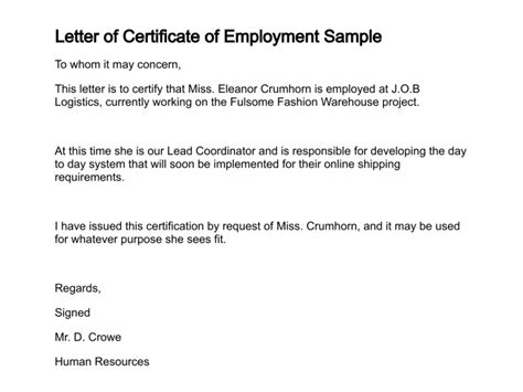 labor certification letter format letter of certificate
