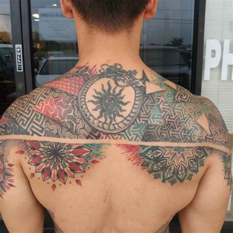 tattoo geometric back upper back tattoo geometric best tattoo ideas gallery