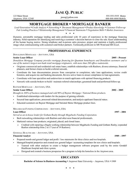 mortgage loan officer resume sle customs resume