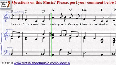 christmas carols     merry christmas voice  piano sheet  video score youtube