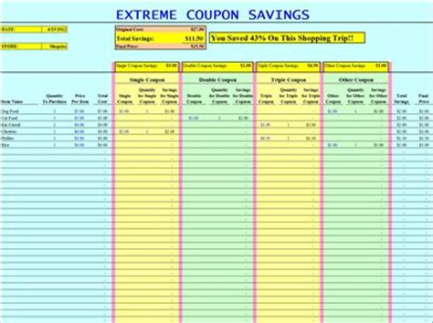 coupon list template best photos of 2014 coupon savings spreadsheet grocery