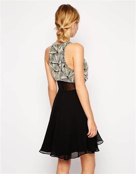 asos asos pearl embellished crop asos all embellished crop top skater dress in black