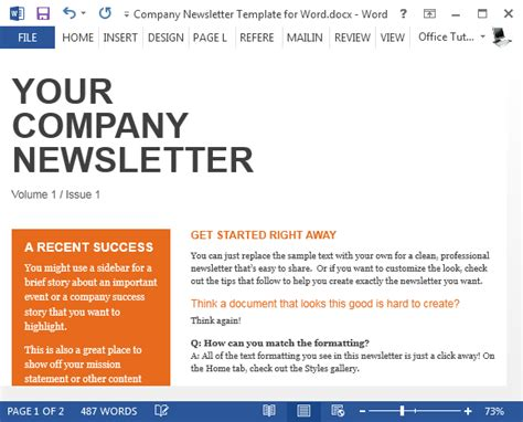 free company newsletter template for word