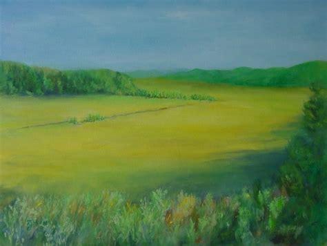 Landscape Artists Fields Colorful Original Rural Landscape Painting Fields