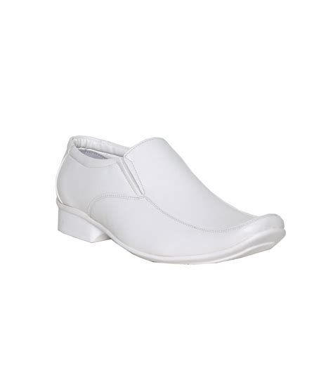 leeport white synthetic leather formal shoes price in