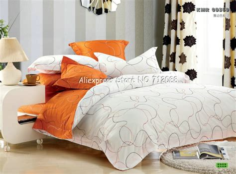 modern bed sets queen home design premium cotton orange white line modern