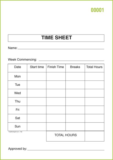 time template free day works pads templates day works pads 163 82 time