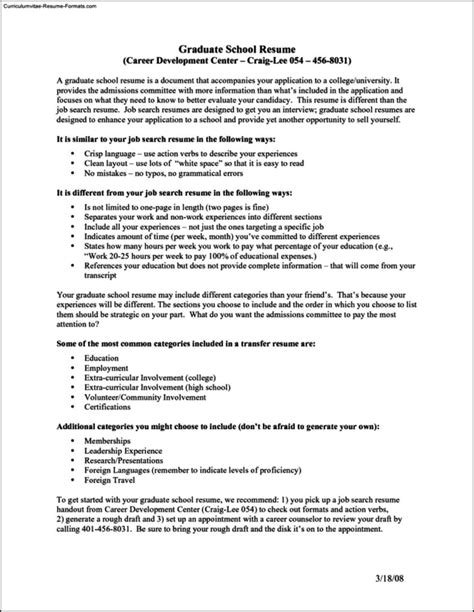 Graduate Resume Template Free by Resume Templates For Graduate School Free Sles