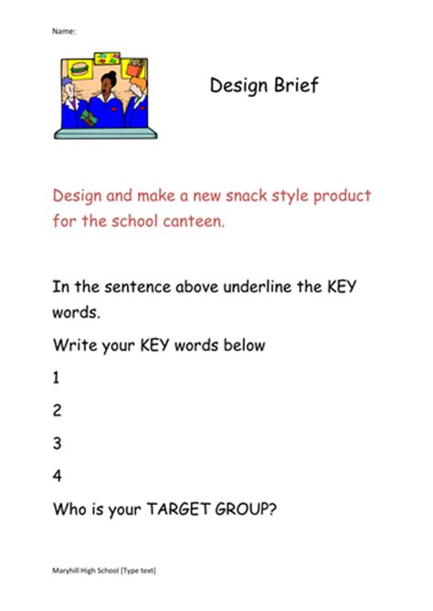 design brief year 8 snack food products worksheet and powerpoint by jamajor