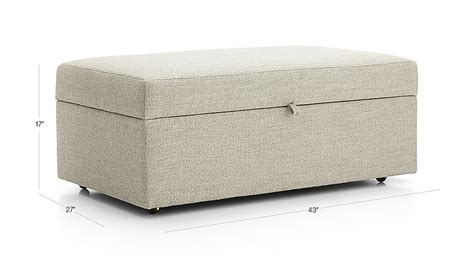 lounge ii storage ottoman with tray lounge ii light grey storage ottoman crate and barrel