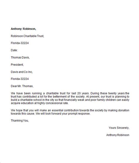 Letter For Work Request Donation Request Letter 8 Free For Word