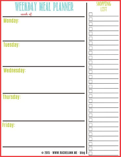 weekly dinner menu planner template free meal planner menu planning menu and template