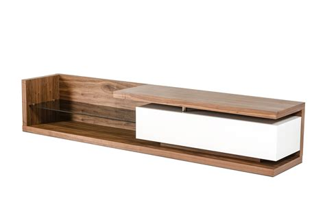 Factory Kitchen Cabinets by Low Profile Walnut Tv Media Stand With Glass Shelf