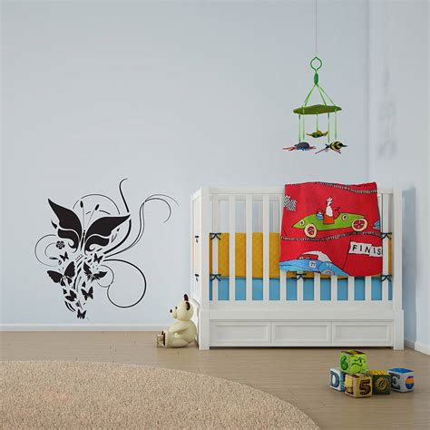 flowers and butterflies wall stickers butterflies and flowers wall decal by vinyl revolution notonthehighstreet