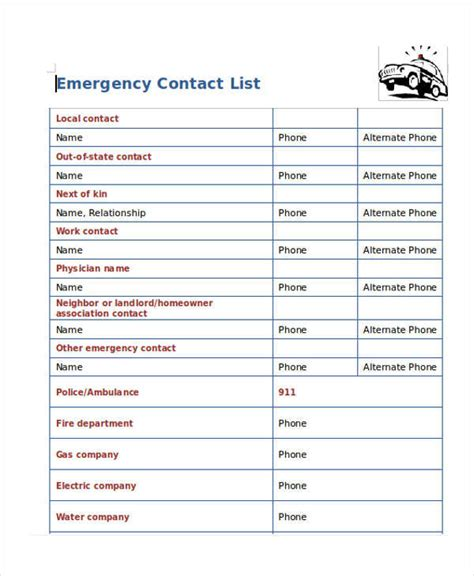 emergency contact list template business contact email list