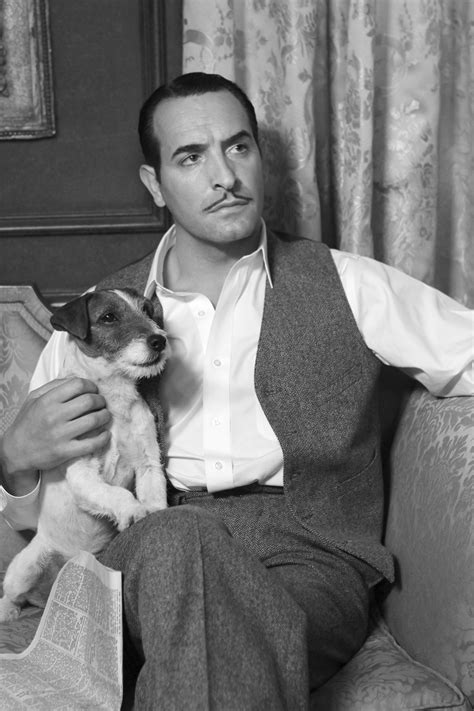 jean dujardin the artist the artist showcases uggie and his considerable canine