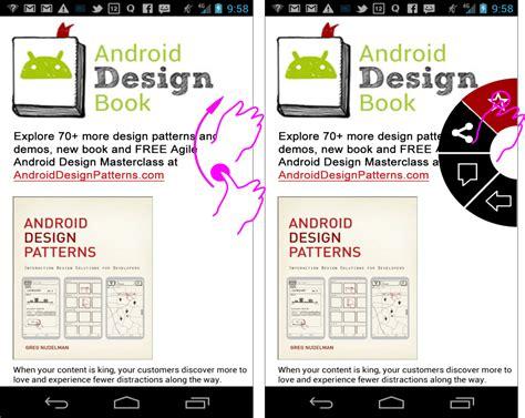 book layout android c swipe semi circular swipe motion menu tiles