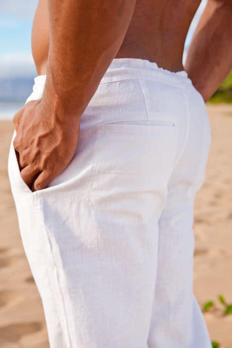 Mens Drawstring Linen Beach Wedding Pants White 1
