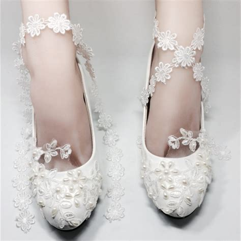 low heels ivory white lace wedding shoes