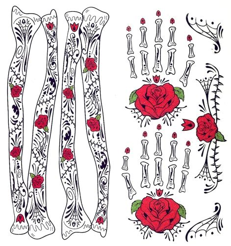day of the dead temporary tattoos glitter roses day of the dead arm bones
