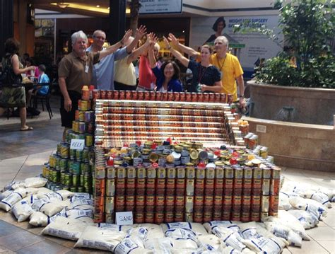 canstruction students design and build colossal canstruction teams to build hunger fighting structures at