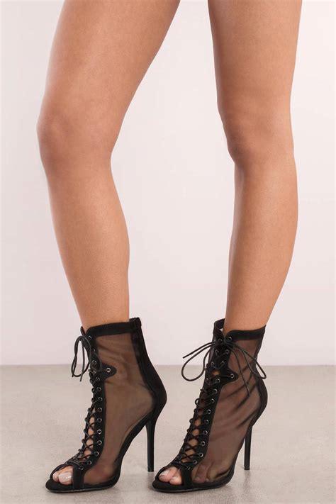 black lace up high heels black heels lace up heels sheer heels c 122
